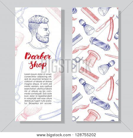 Vector vintage hand drawn Barber Shop business flyer. Detailed illustrations. Hipster man with beard mustage scissors ribbon whisker and lettering styled text.