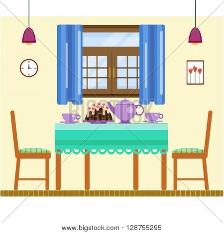 Dining room interior with utensils and furniture. Dining table and two chairs, sweets and tea. Tea ceremony. Celebration date table. Flat home interior. Vector illustration