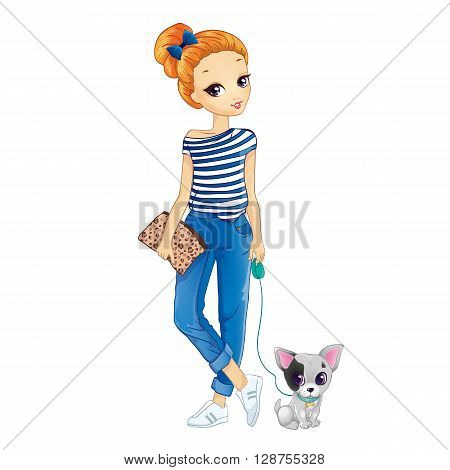 Vector illustration of girl dressed in jeans and t-shirt walking with dog