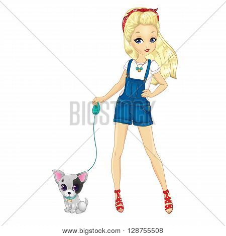 Vector illustration of blonde city girl dressed in denim overalls walking with dog