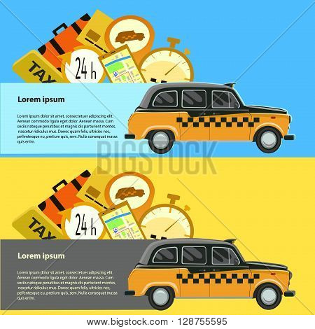 Vector modern flat creative infographics design on public taxi service, taxi car. Illustration