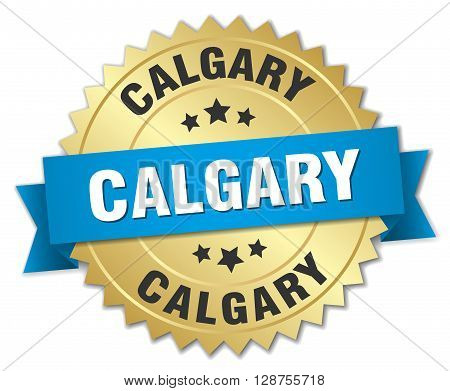 Calgary round golden badge with blue ribbon,3d