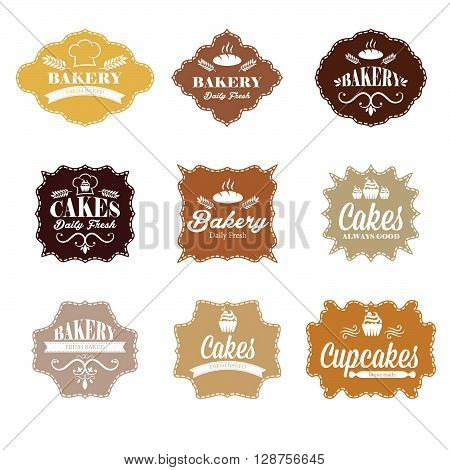 Collection of vintage retro bakery labels.vector illustration template
