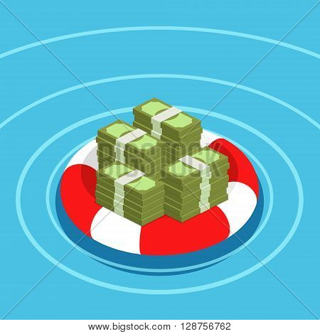 Concept of deposit insurance. Dollars in lifebuoy. Rescue of the money. Flat design, vector illustration.