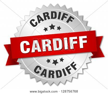 Cardiff round silver badge with red ribbon