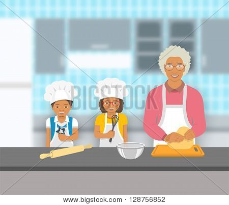 Grandmother and kids bake together at a kitchen. Granny kneads pastry happy grandson and granddaughter help her. African American family baking home cookies pie or cake. Vector flat illustration.