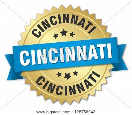 Cincinnati round golden badge with blue ribbon