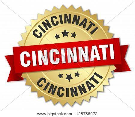 Cincinnati round golden badge with red ribbon
