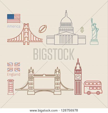 Concept of travel or studying English. English and american flags with landmarks. Flat design, lineart, vector illustration