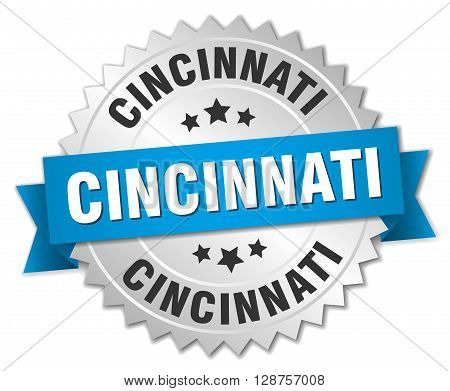 Cincinnati round silver badge with blue ribbon