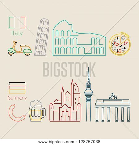 Concept of travel or studying Italian. Italian and German flags. Flat design, lineart vector illustration