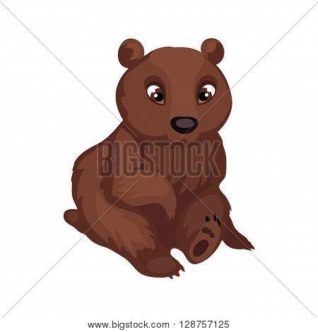 Bear cub isolated on white background. Cute bear in a cartoon style. Vector illustration.