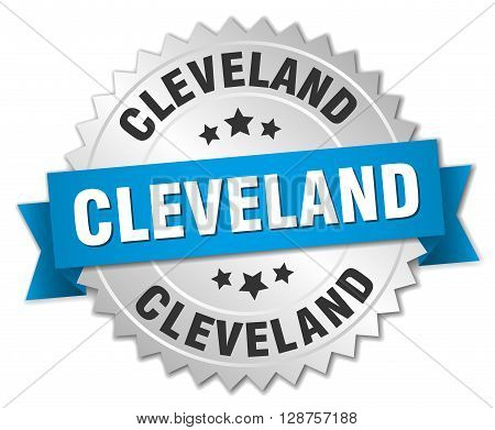 Cleveland round silver badge with blue ribbon
