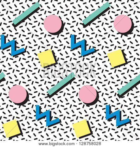 Print Retro seamless pattern in Memphis style, 80s, 90s