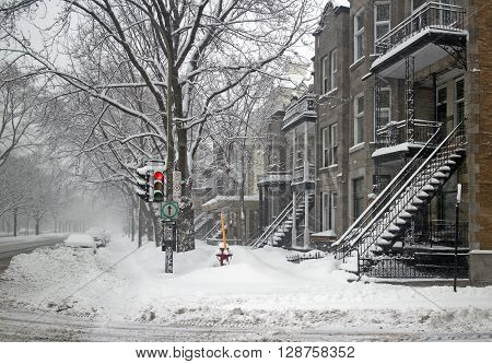 Montreal famous neighborhood in a winter snowstorm