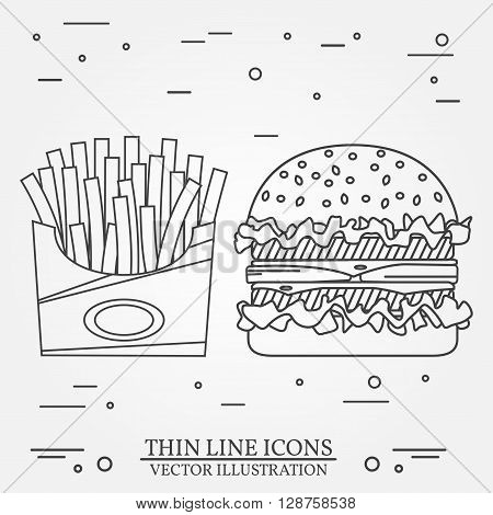 Vector Thin Line Icon Hamburger And Fries. For Web Design And Ap
