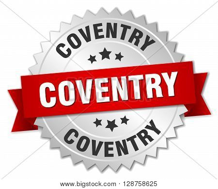 Coventry round silver badge with red ribbon