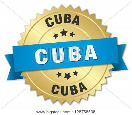 Cuba round golden badge with blue ribbon