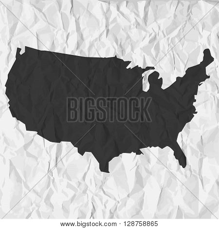USA map in black on a background crumpled paper