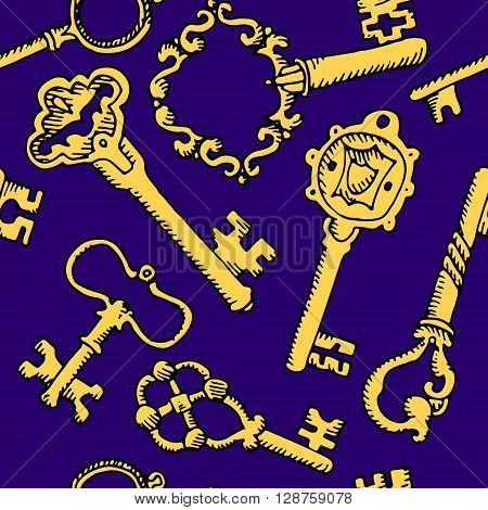 Set of keys. Hand drawn vector stock illustration. Seamless background pattern, template