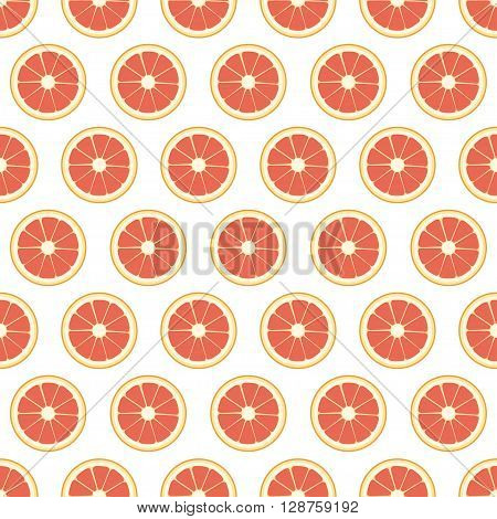 Grapefruit seamless pattern on a white background. Vector illustration