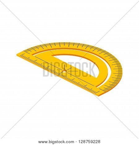 Isometric Protractor On White Background. Vector Illustration.