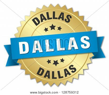 Dallas round golden badge with blue ribbon