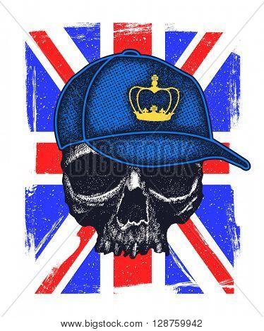 Skull and Flag Great Britain. Jpeg version