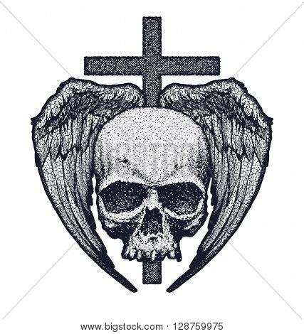 Skull with wings and cross. Stylized illustration. Hand drawn. Jpeg version.