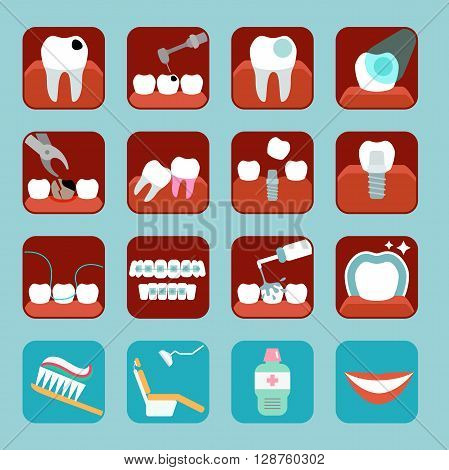 Set of 16 simple icons. Stomatology and dental procedures flat icons. Toothcare vector illustration