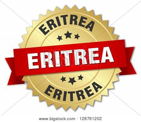 Eritrea round golden badge with red ribbon