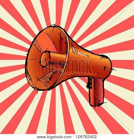 Megaphone or loudspeaker. Colorful hand drawn vector stock illustration
