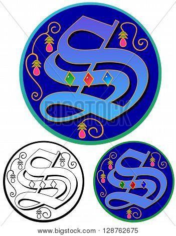 Letter S, ornate monogram initial on round emblem