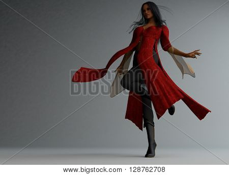 3d illustration of a wizard woman