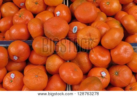 LEIPZIG GERMANY - CIRCA MARCH 2016: Oranges displayed on a market counter