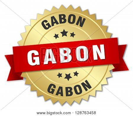 Gabon round golden badge with red ribbon