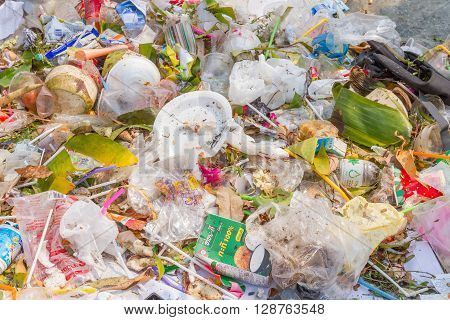PAI, THAILAND - April 10, 2016 : the garbage disposal pond in Pai,Thailand, It is demonstration of environmental problems