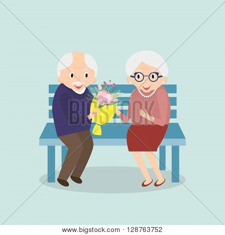 Old couple together. Seniors happy leisure. Grandpa and grandma sitting on the bench. Vector illustration