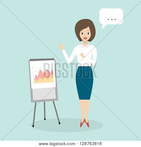 Business Woman isolated. Girl Pointing on flipchart. Business character scene. Vector Illustration