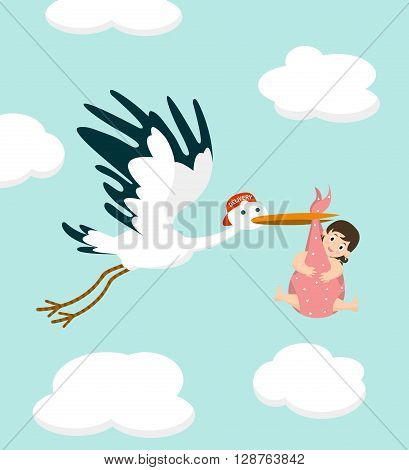 Stork carrying a cute  baby girl. Newborn baby. Vector illustration