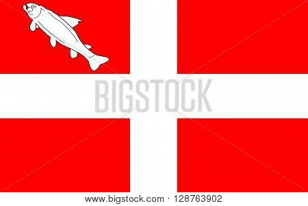 Flag of Annecy is the greatest city of Haute-Savoie department in the Auvergne-Rhone-Alpes region in south-eastern France