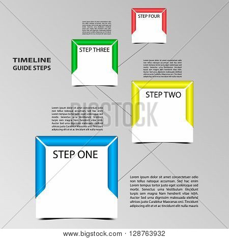Four steps timeline template. Square format with frame.