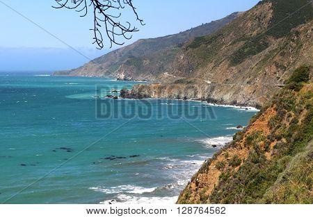 Scenery along California's Hwy 1 in the Big Sur region