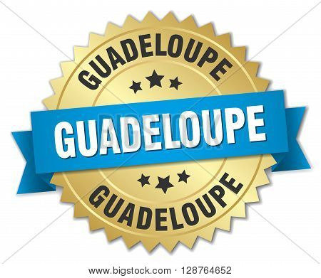 Guadeloupe round golden badge with blue ribbon