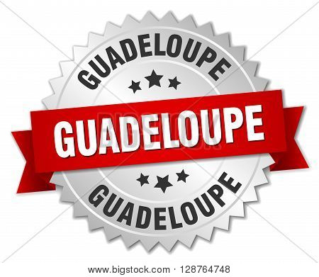 Guadeloupe round silver badge with red ribbon