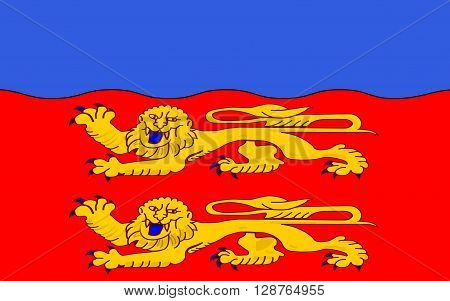 Flag of Calvados - department in the northwest of France one of the departments in the region Basse-Normandie. Prefecture is located in Caen.