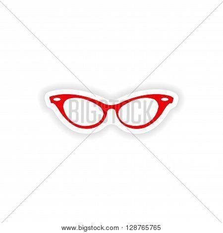 paper sticker on white background glasses women