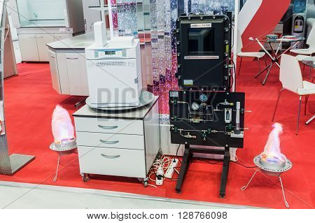 MOSCOW RUSSIA - April 12 2016: The 14th International Exhibition of laboratory equipment and chemical reagents in Moscow. Medical and laboratory equipment at the exhibition.