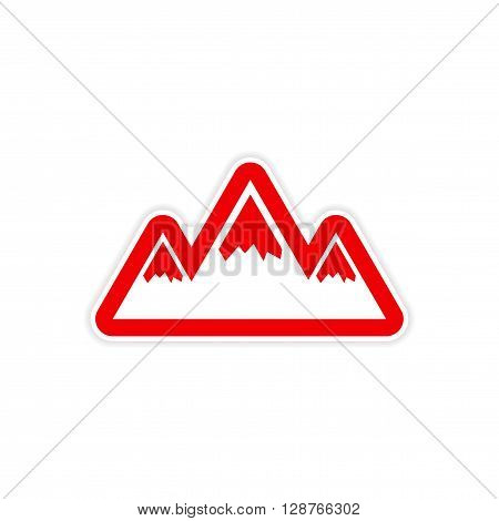 paper sticker on white background Arctic mountains