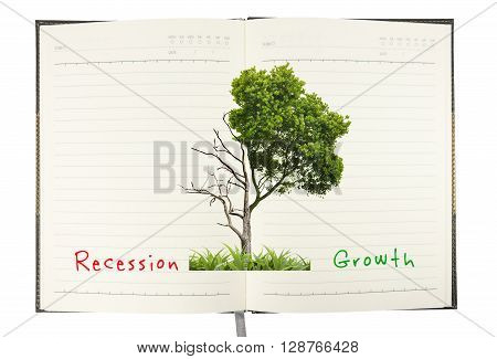 recession comparison with growth concept on notebook